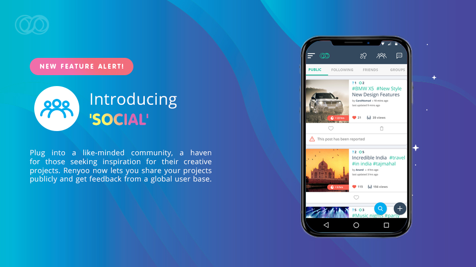 Connect with a global community of creators using Renyoo's social features!
