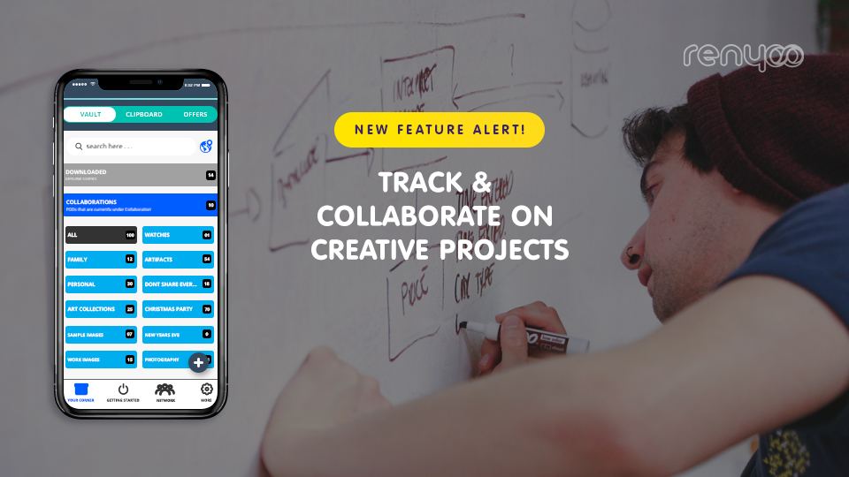 Store, collaborate, share, and catalog your creative projects with Renyoo's 'Your Corner'.